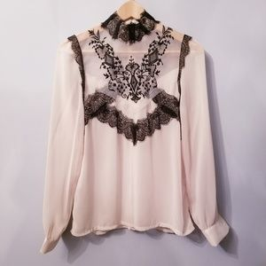 Tops - Sheer Lace/Embroider Blouse in Blush pink/cream S.